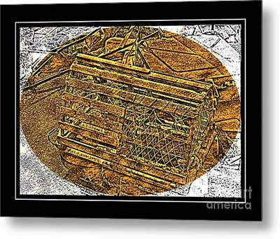 Lobster Pot - Brass Etching Metal Print by Barbara Griffin
