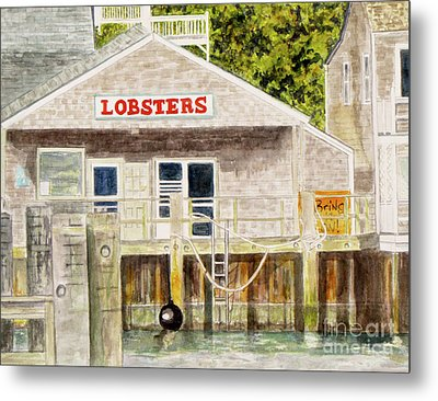 Metal Print featuring the painting Lobster Shack by Carol Flagg