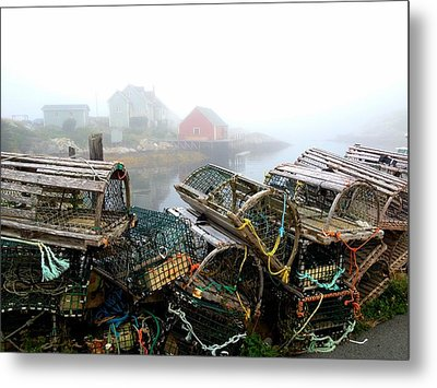 Lobster Traps And Fog Metal Print by Tracy Munson