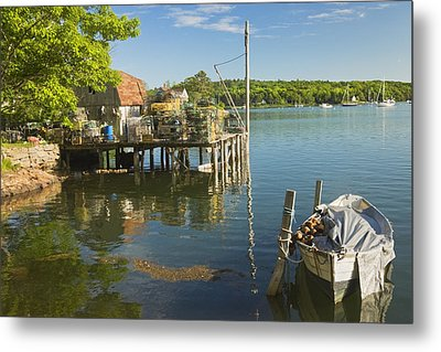 Lobster Traps On Pier In Round Pound On The Coast Of Maine Metal Print by Keith Webber Jr