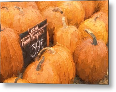 Local Field Pumpkins Painterly Effect Metal Print by Carol Leigh