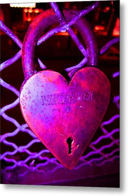 Lock Of Love In Pink Metal Print by Kym Backland