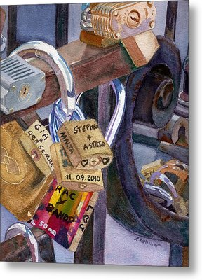 Metal Print featuring the painting Locks Of Luck by Lynne Reichhart