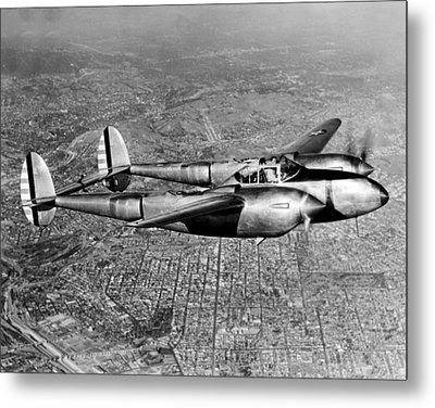 Lockheed P-38 Lightning Fighter Metal Print by Underwood Archives