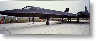 Lockheed Sr-71 Blackbird On A Runway Metal Print by Panoramic Images