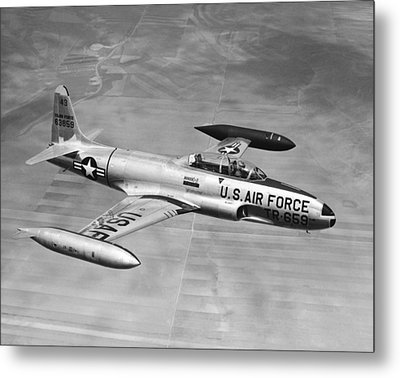 Lockheed T-33 Jet  Trainer Metal Print by Underwood Archives