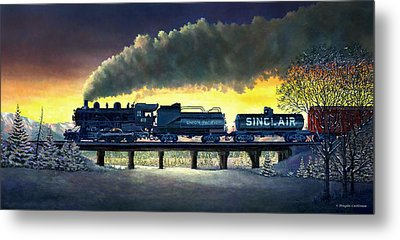 Locomotive In Winter Metal Print by Douglas Castleman