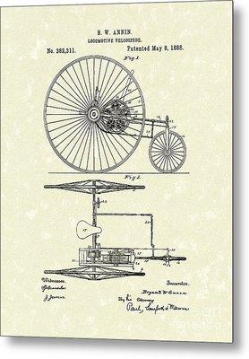 Locomotive Velocipede 1888 Patent Art Metal Print
