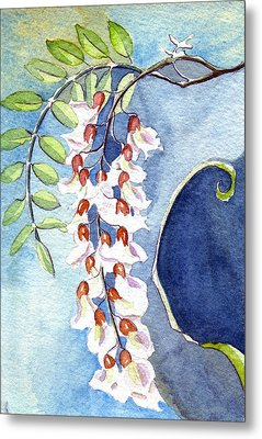 Metal Print featuring the painting Locust Bloom by Katherine Miller