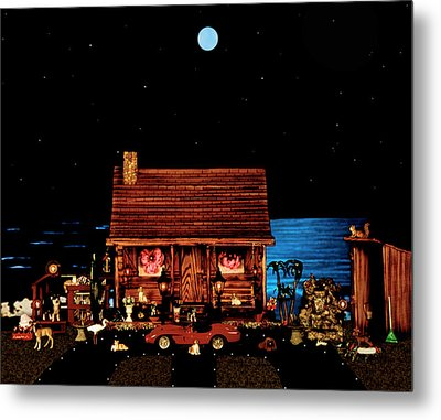 Log Cabin And Outhouse Color Scene With Old Vintage Classic 1958 Ferrari 250 Testa Rossa Metal Print by Leslie Crotty