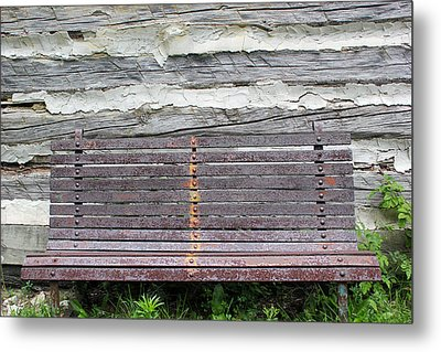 Log Cabin Bench 1 Metal Print by Mary Bedy