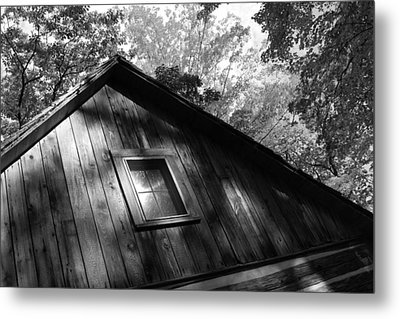 Log Cabin Bw Version Metal Print by Sheryl Burns