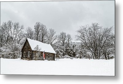 Log Cabin In The Snow Metal Print by Edward Fielding