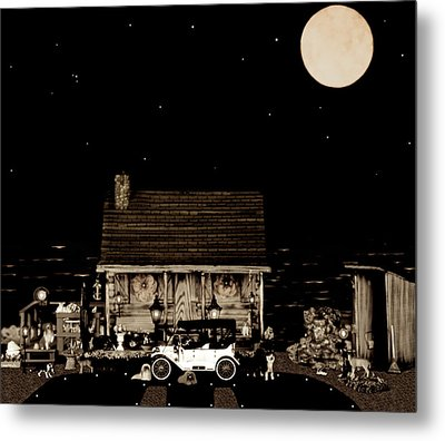 Log Cabin Scene  With The Old Vintage Classic 1913 Buick Model 25 In Sepia Color Metal Print by Leslie Crotty