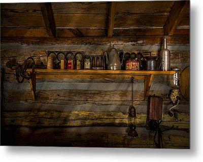 Log Cabin Shelf Metal Print