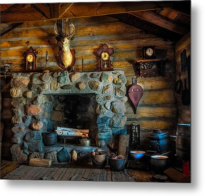 Log Cabin With Fireplace Metal Print by Paul Freidlund