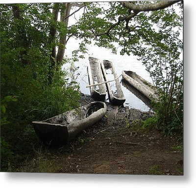 Metal Print featuring the photograph Log Canoes by Kerri Mortenson