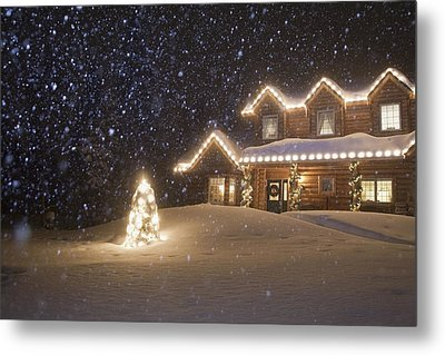 Log Home Decorated With Christmas Metal Print