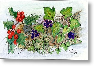 Log Of Ivy, Holly And Hazelnuts  Metal Print by Nell Hill