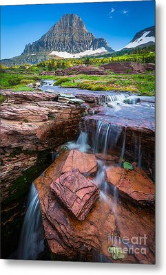 Logan Pass Waterfall Metal Print