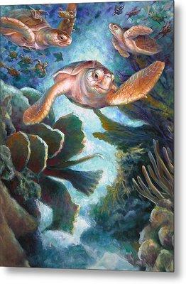 Loggerhead Sea Journey II Metal Print by Nancy Tilles