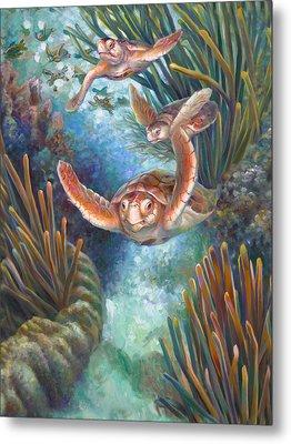 Loggerhead Sea Journey IIi Metal Print by Nancy Tilles