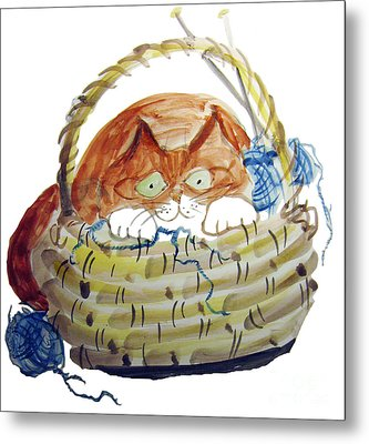 Lois Hides In The Basket Of Knitting Metal Print by Ellen Miffitt