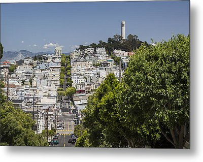 Lombard Street And Coit Tower On Telegraph Hill Metal Print by Adam Romanowicz