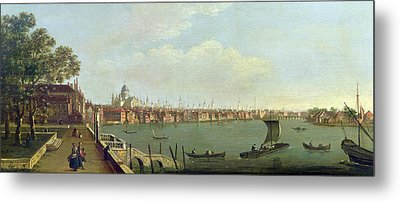 London Bridge And The City From The Terrace Of Somerset House Oil On Canvas Metal Print by Francis Smith