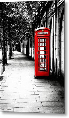London Calling - Red Telephone Box Metal Print
