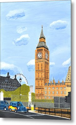 Metal Print featuring the painting London England Big Ben  by Magdalena Frohnsdorff