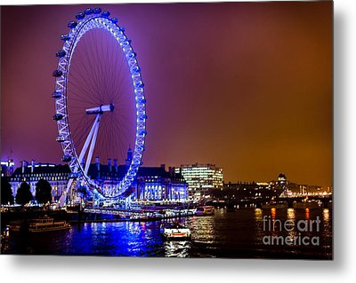 Metal Print featuring the photograph London Eye Night Glow by Matt Malloy