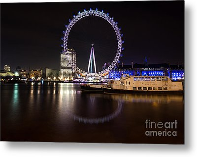 Metal Print featuring the photograph London Eye Night by Matt Malloy