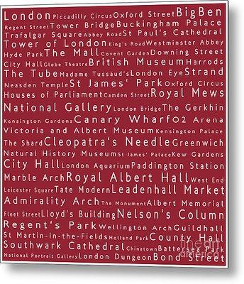 London In Words Red Metal Print by Sabine Jacobs