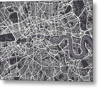 London Map Art Metal Print by Michael Tompsett