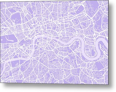 London Map Lilac Metal Print by Michael Tompsett