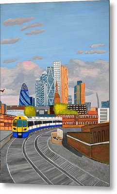 London Overland Train-hoxton Station Metal Print by Magdalena Frohnsdorff