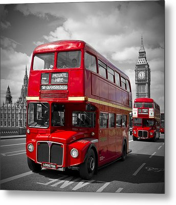 London Red Buses On Westminster Bridge Metal Print by Melanie Viola