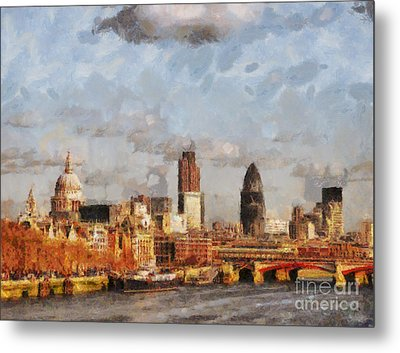 London Skyline From The River  Metal Print by Pixel Chimp