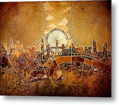 London Skyline Old Vintage  Metal Print