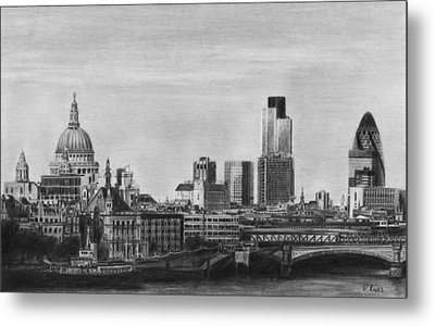 London Skyline Pencil Drawing Metal Print