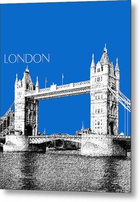 London Skyline Tower Bridge - Blue Metal Print by DB Artist
