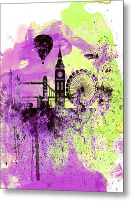 London Skyline Watercolor 1 Metal Print by Naxart Studio