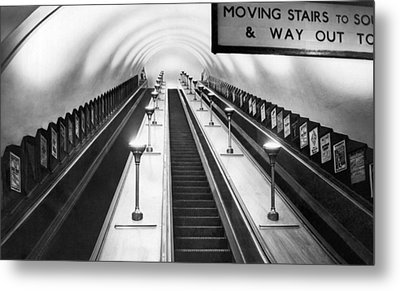 London Subway Escalators Metal Print by Underwood Archives