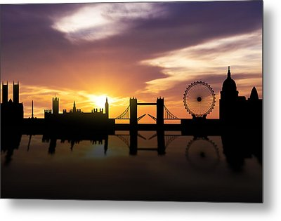 London Sunset Skyline  Metal Print by Aged Pixel