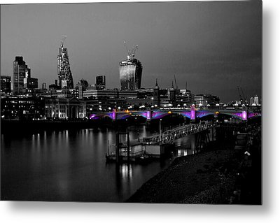 London Thames Bridges Bw Metal Print