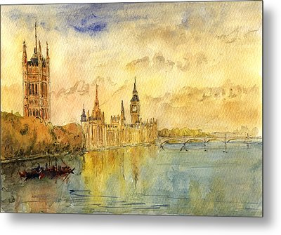 London Thames River Metal Print by Juan  Bosco