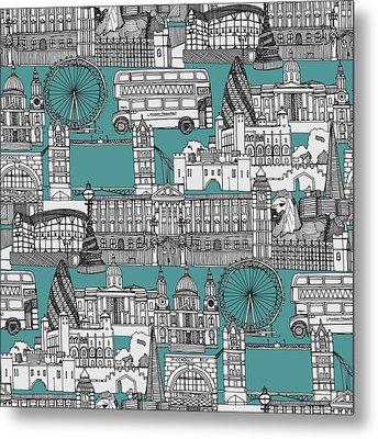 London Toile Blue Metal Print by Sharon Turner
