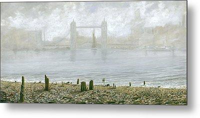 London Tower Bridge At Low Tide Metal Print by Eric Bellis