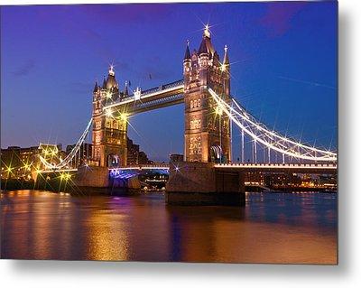 London - Tower Bridge During Blue Hour Metal Print